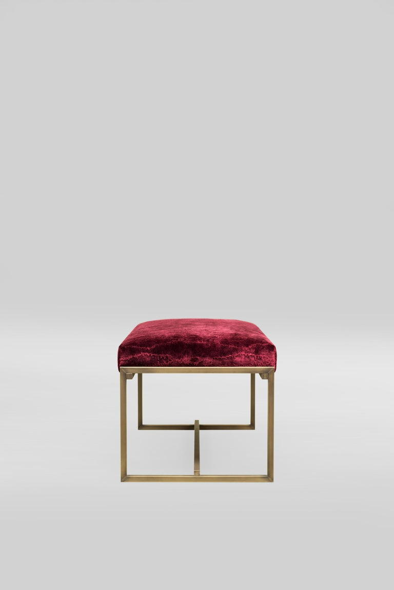 Upholstered bench on a slender metal frame. A light weight construction, easy to pick up and move. Customisable in size; can be used as footrest or bed-end.  Product type Bench Year of Design 2016 Designer Peter Ghyczy Description Upholstered bench