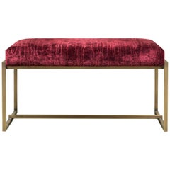 GHYCZY Bench Grace GB03, Brass Patinated, Red Velvet Fabric