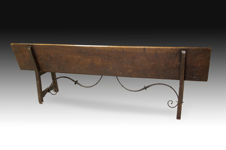 Baroque Bench, Walnut, Iron, 17th Century For Sale
