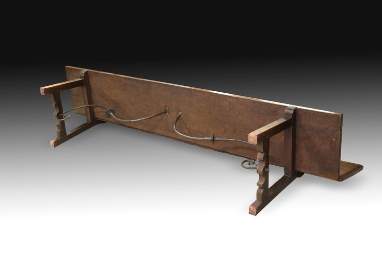 European Bench, Walnut, Iron, 17th Century For Sale