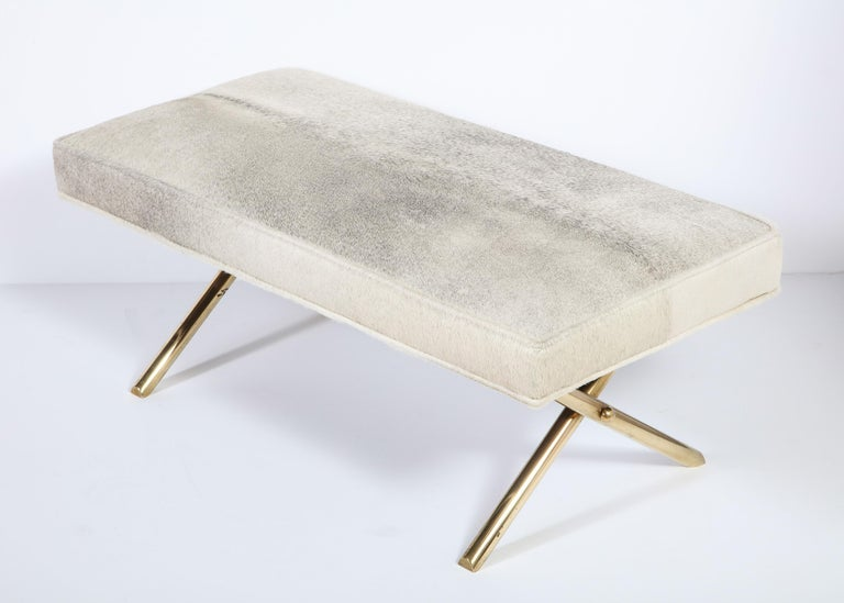 Bench with Brass Legs and Cow Hide, circa 1950 For Sale 4