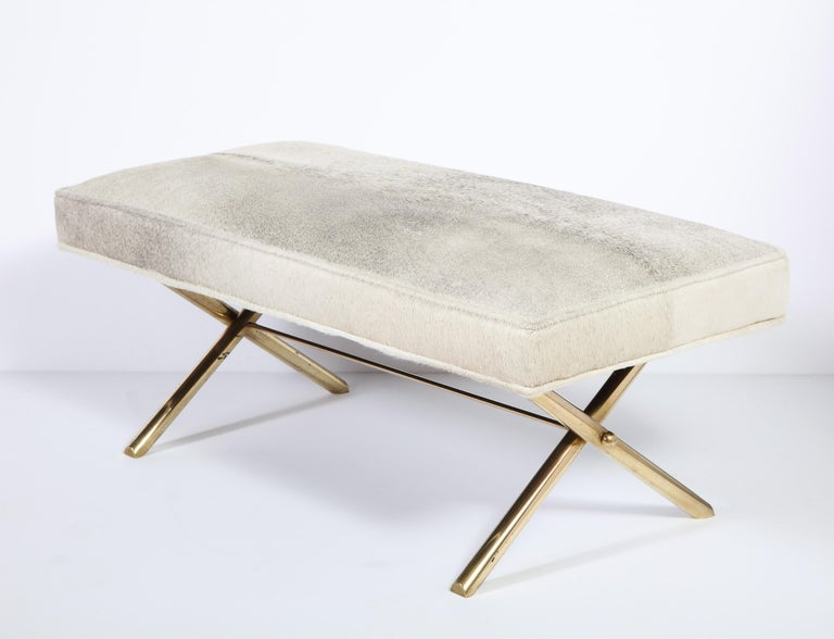Bench with Brass Legs and Cow Hide, circa 1950 For Sale 5