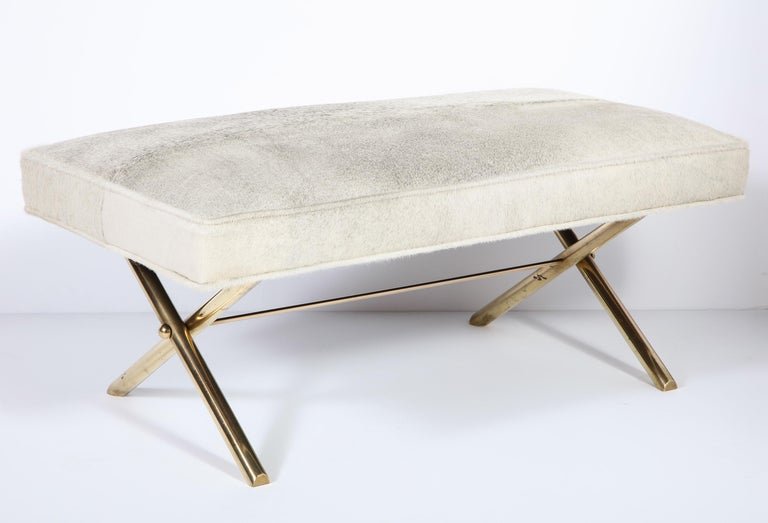 Hand-Crafted Bench with Brass Legs and Cow Hide, circa 1950 For Sale