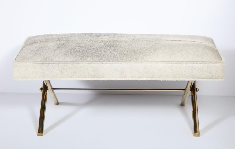 Mid-20th Century Bench with Brass Legs and Cow Hide, circa 1950 For Sale
