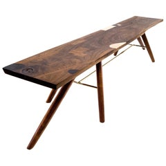 Bench with Inlays and Exquisite Detailing, Poet's Bench by Birnam Wood Studio