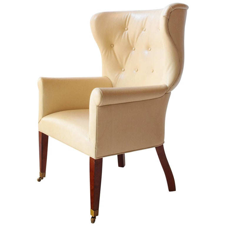 Benchmade Transitional Barrel Wingback Wing Chair Upholstered in Edelman Leather For Sale