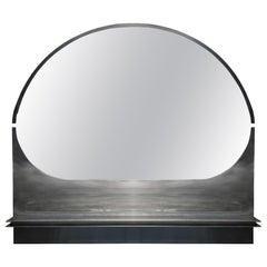 Modern, 21st Century, Stainless Steel, Bend, Wall Mirror, with shelf
