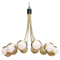 Benedict Chandelier in a Satin Brass Finish with Opal White Glass