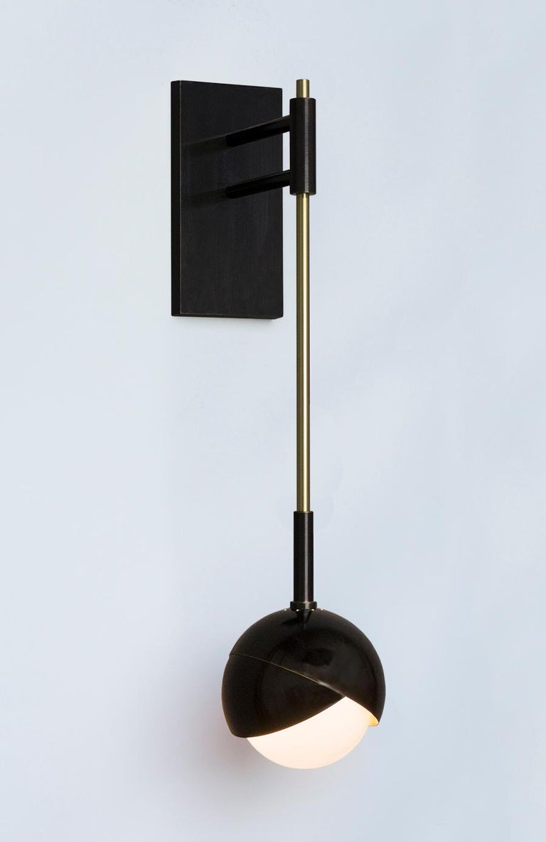 American Benedict Wall Sconce in a Satin Brass Finish with White Opal Glass For Sale