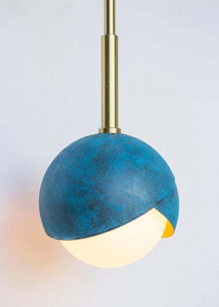 Other Benedict Wall Sconce in Prussian Blue and Satin Brass with White Opal Glass For Sale
