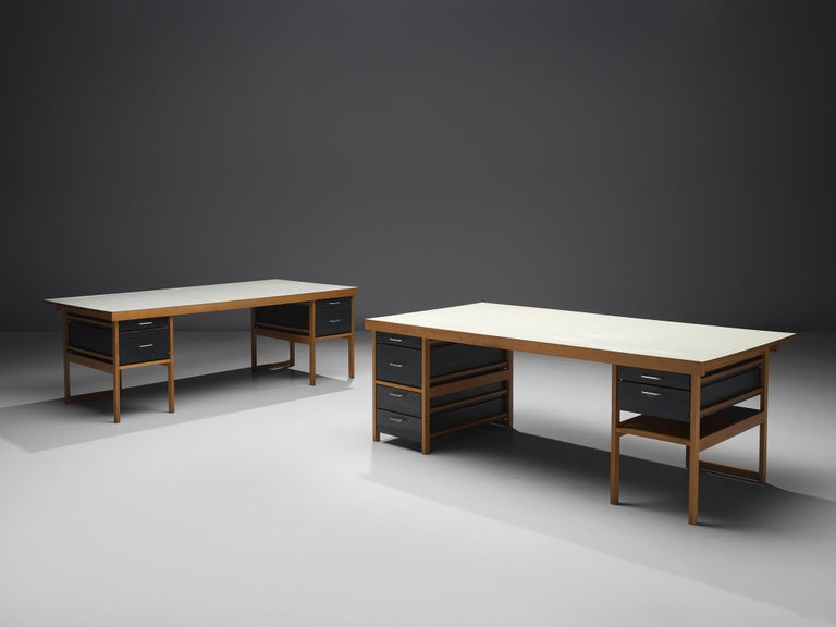 Desk Benedikt Rohner for Oswald, oak and lacquered wood, Switzerland, 1965  This desk in natural and lacquered oak is designed by the Swiss designer Benedikt Rohner for Oswald, 1965. The most interesting thing about this desk is its open