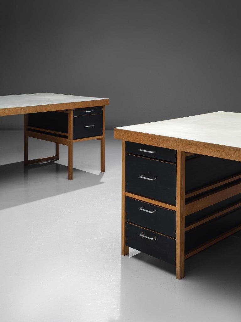 Mid-Century Modern Benedikt Rohner Oak Desks for Oswald For Sale