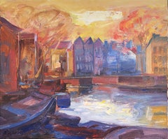 Amsterdam canal oil on canvas painting urbanscape