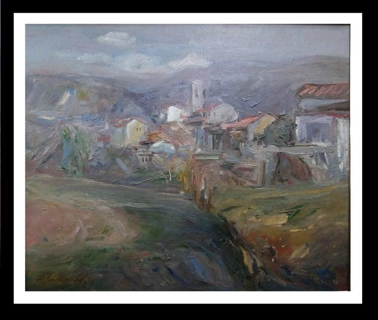 """Benet Sarsanedas Figurative Painting - """"Rupit"""".  Original landscape Oil canvas painting 1975"""
