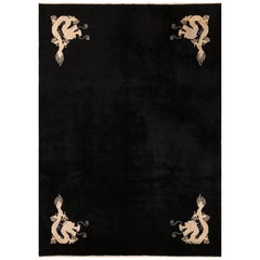 Benevolent Five Clawed Dragon Design Black Antique Chinese Rug. Size: 7' x 9' 6""