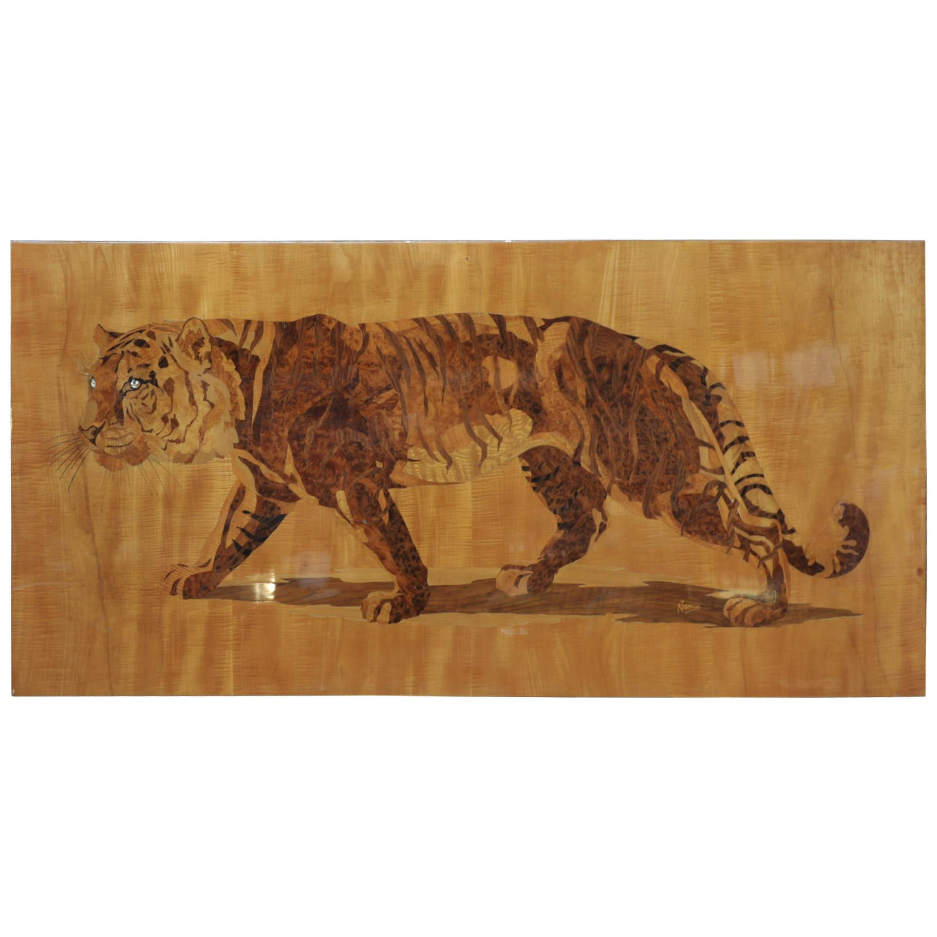 Bengal Tiger in Marquetry Wood Pannel Signed Pierre Rosenau, circa 1930