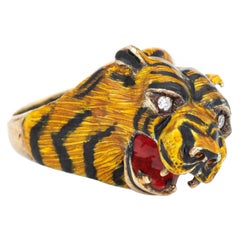 Bengal Tiger Ring Vintage 14 Karat Yellow Gold Animal Jewelry Enamel Estate