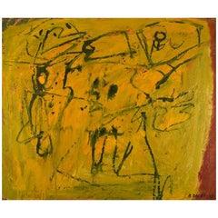 Bengt Delefors, Sweden, Oil on Canvas, Modernist Composition, 1960s