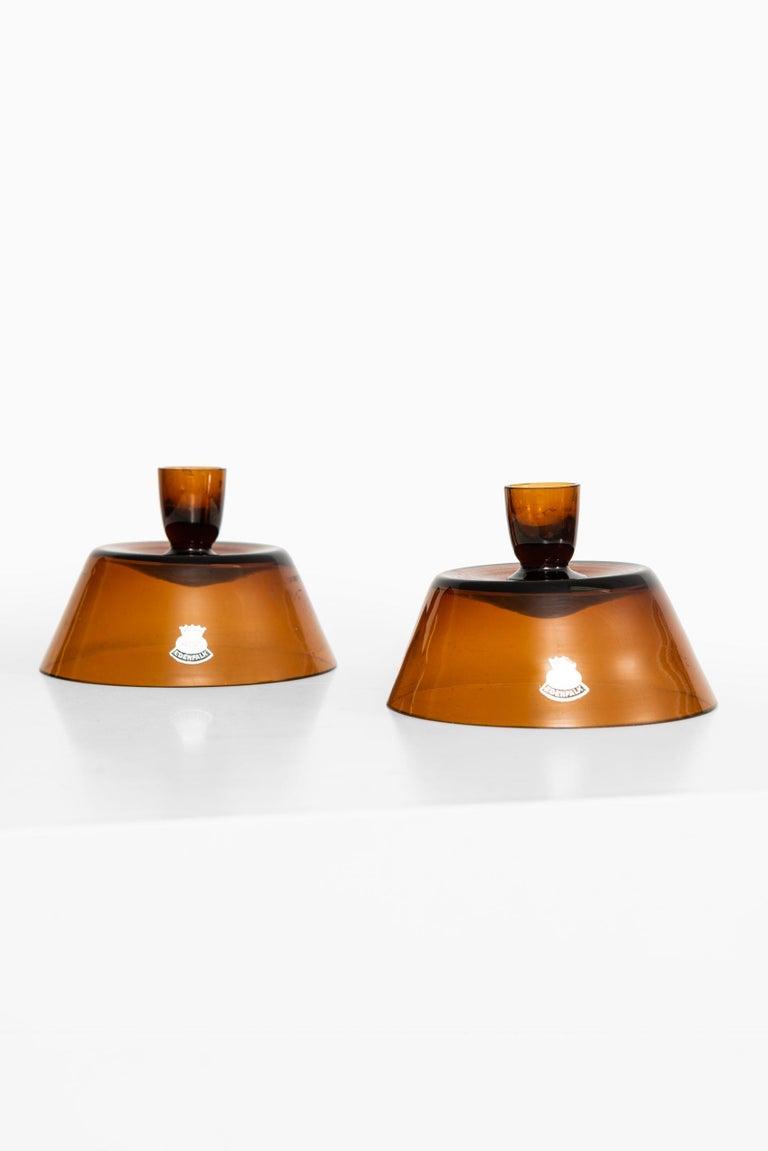Swedish Bengt Edenfalk Candlesticks / Vases Produced by Skruf in Sweden For Sale