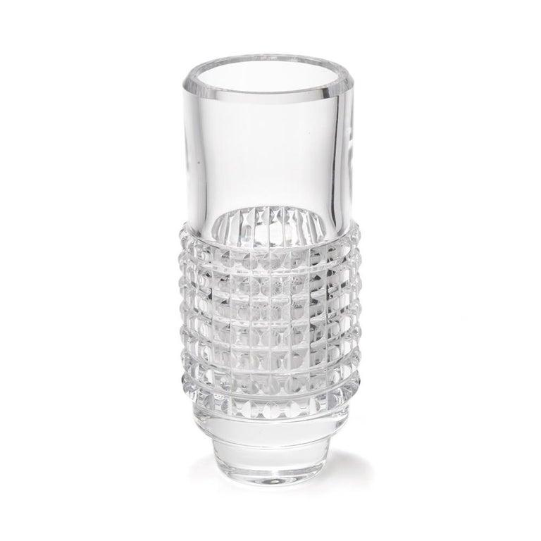 Scandinavian Modern Vintage Bengt Edenfalk Skruf Glass Cylindrical Corona Vase, circa 1960 For Sale