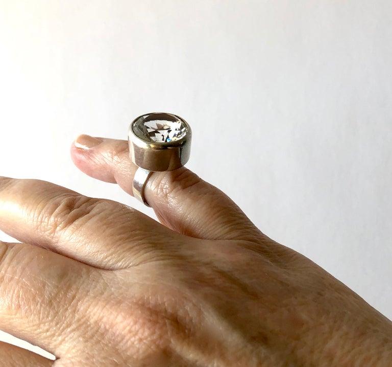 Women's Bengt Hallberg Sterling Silver Rock Crystal Swedish Modernist Ring For Sale