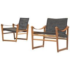 Bengt Ruda 'Cikada' Safari Chairs in Canvas, Leather and Beech