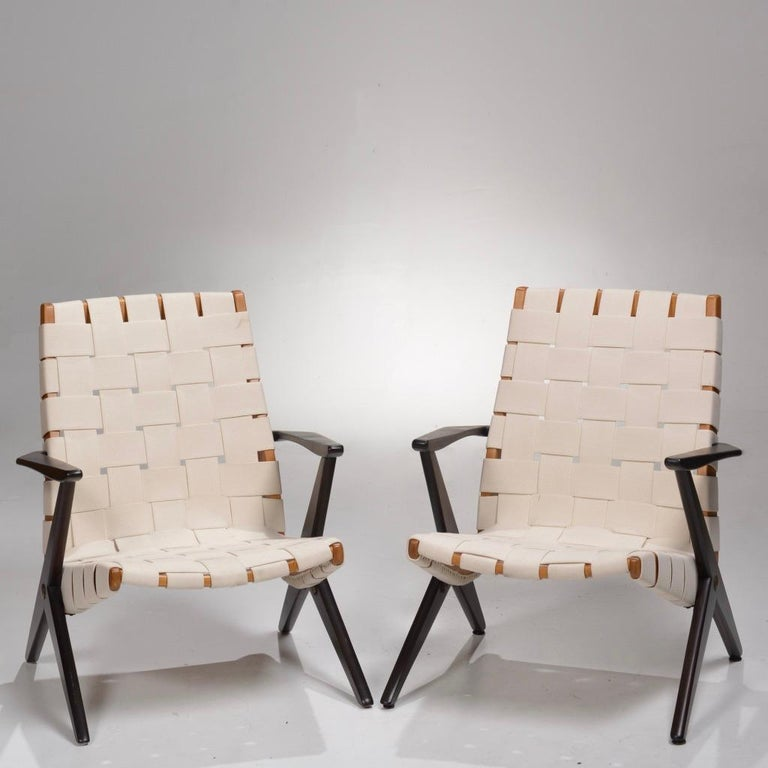 Pair of rare easy chairs designed by Bengt Ruda for Nordiska Kompaniet of Sweden. Circa 1950s