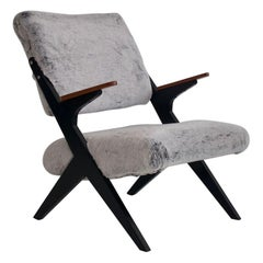 Bengt Ruda Teak and Ebonized Wood Chair with Faux Fur Upholstery