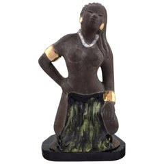Bengt Wall, Sweden, Balinese Girl in Raw and Glazed Ceramics, 1950s
