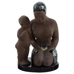 Bengt Wall, Sweden, Balinese Girl with Child in Raw and Glazed Ceramics, 1950s
