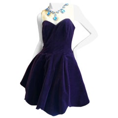 Benhaz Sarafpour Purple Velvet Mini Evening Dress w Petticoats and Jewel Collar