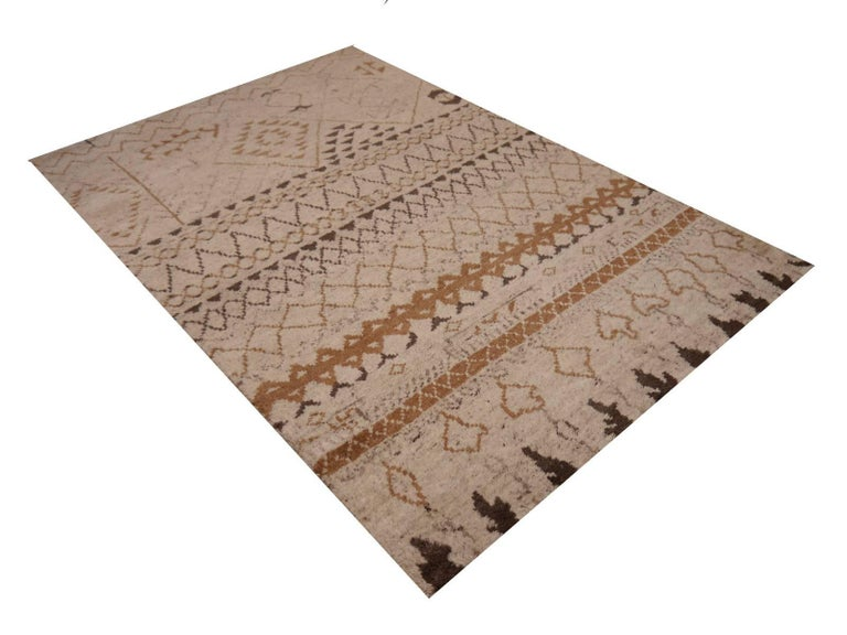 Hand-Knotted Beni Ahmad Moroccan Design Contemporary Rug For Sale