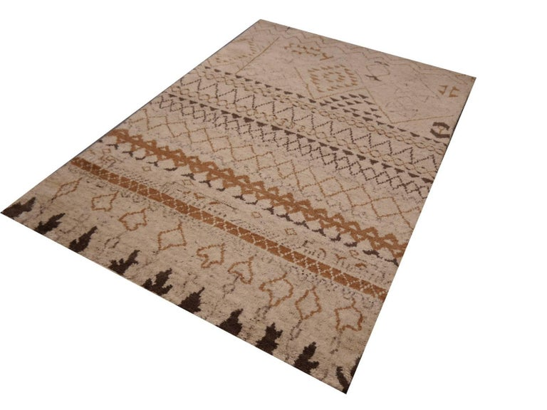 Wool Beni Ahmad Moroccan Design Contemporary Rug For Sale