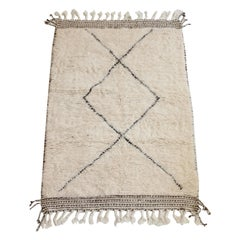 Beni Ourain Moroccan Wool Cream and Black Atlas Mountains Rug