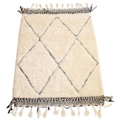 Beni Ourain Moroccan Wool Cream and Black Atlas Mountains Rug with Dark Border