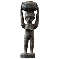 Benin Carving of a Woman with Basket on the Head, Edo People, circa 1950s