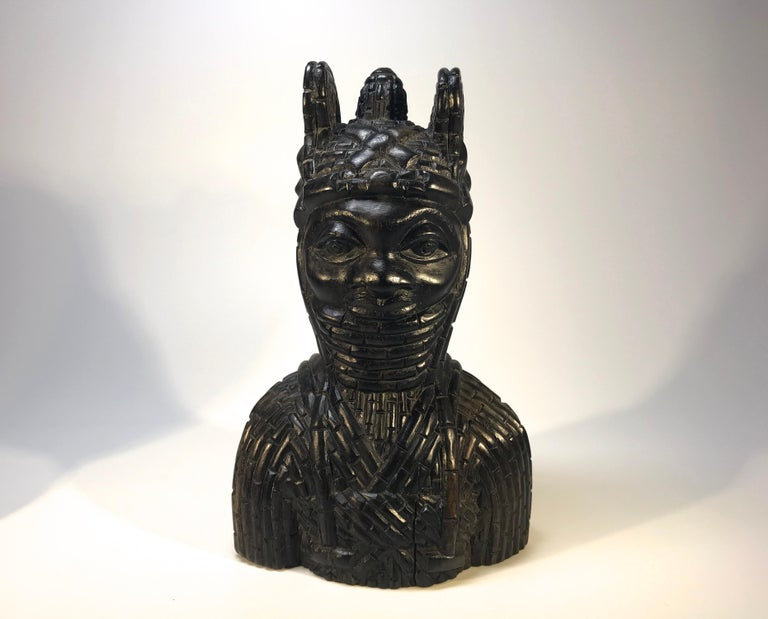 Edo Benin King Oda and Queen Pair of Hand Carved Antique Figures West African 1920s For Sale