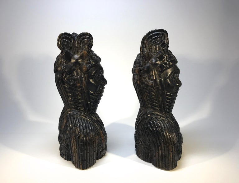 Beninese Benin King Oda and Queen Pair of Hand Carved Antique Figures West African 1920s For Sale