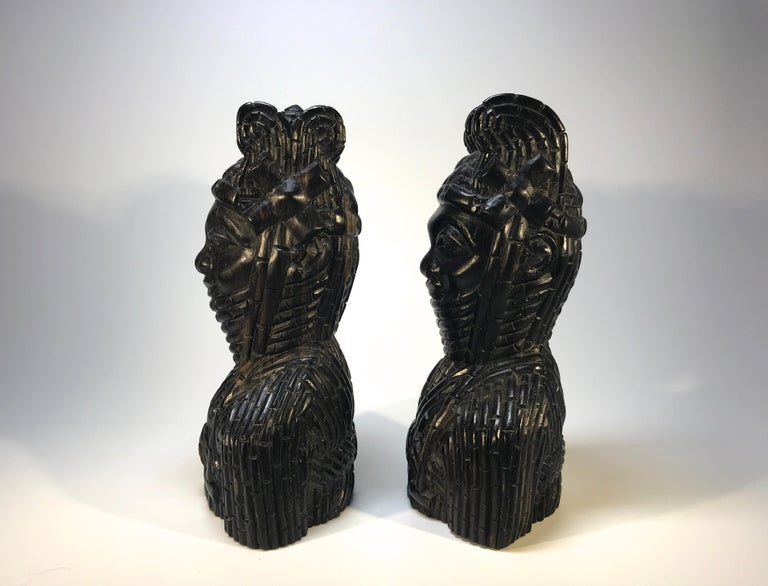 Hand-Carved Benin King Oda and Queen Pair of Hand Carved Antique Figures West African 1920s For Sale