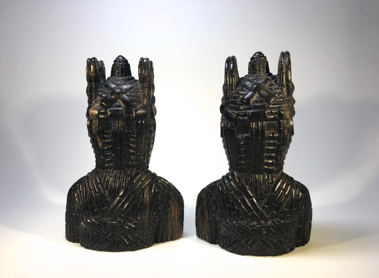Benin King Oda and Queen Pair of Hand Carved Antique Figures West African 1920s In Good Condition For Sale In Rothley, Leicestershire