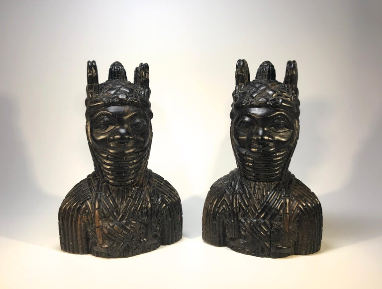Ebony Benin King Oda and Queen Pair of Hand Carved Antique Figures West African 1920s For Sale
