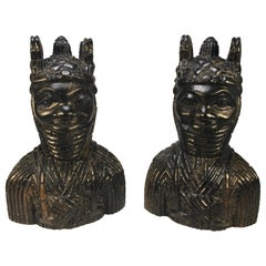 Benin King Oda and Queen Pair of Hand Carved Antique Figures West African 1920s