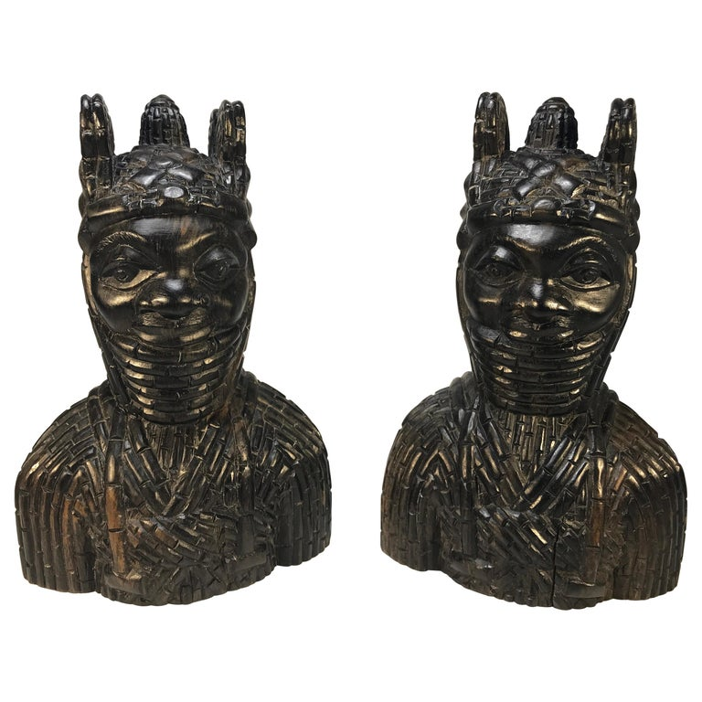 Benin King Oda and Queen Pair of Hand Carved Antique Figures West African 1920s For Sale