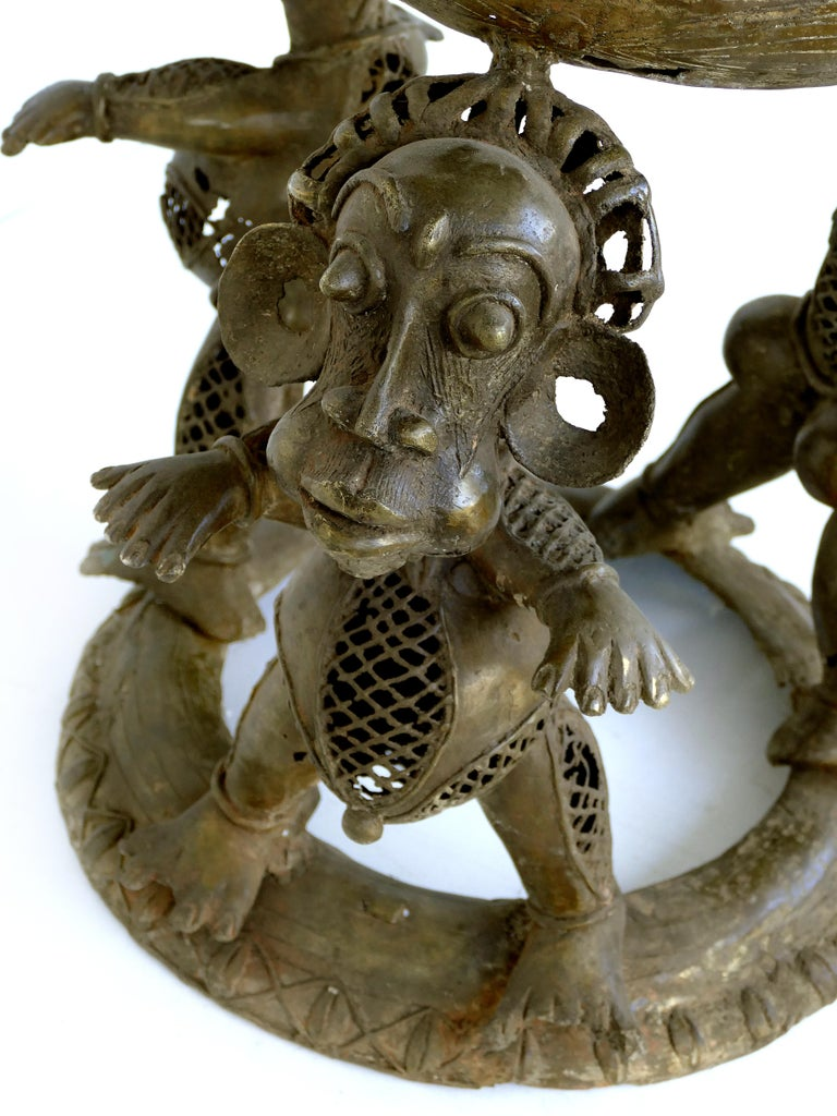 Cast Benin 'Nigeria' Bronze Figural Offering Depicting Leopards and Tribesmen For Sale
