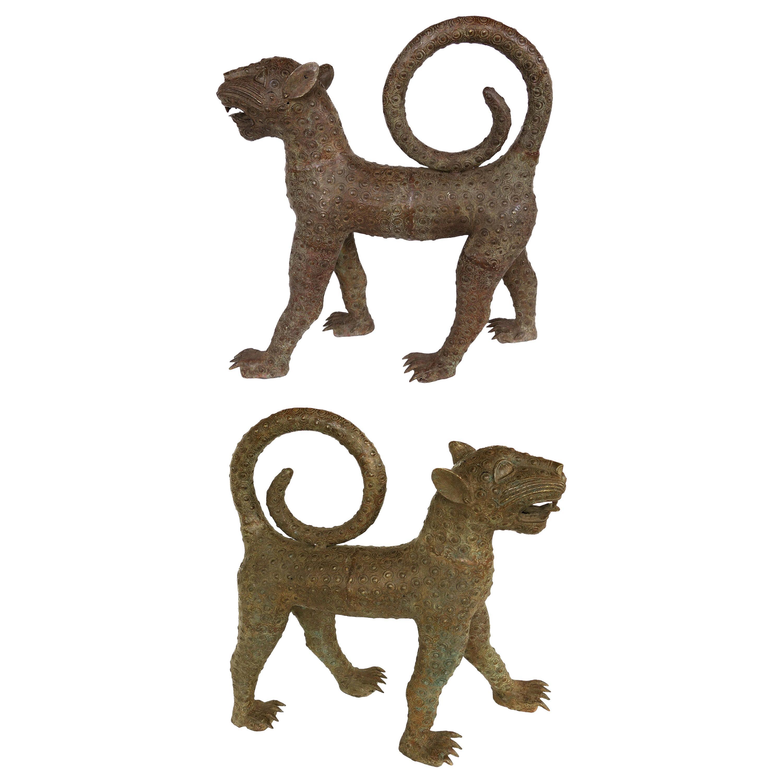 Benin 'Nigeria' Bronze Sculptures of Leopards, Modern Replicas