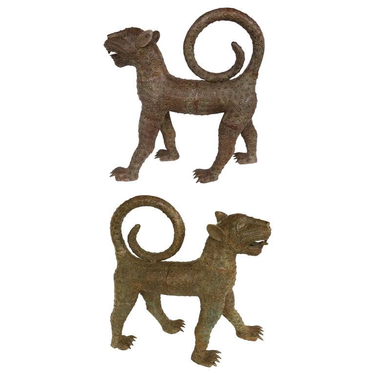 Benin 'Nigeria' Bronze Sculptures of Leopards, Modern Replicas For Sale