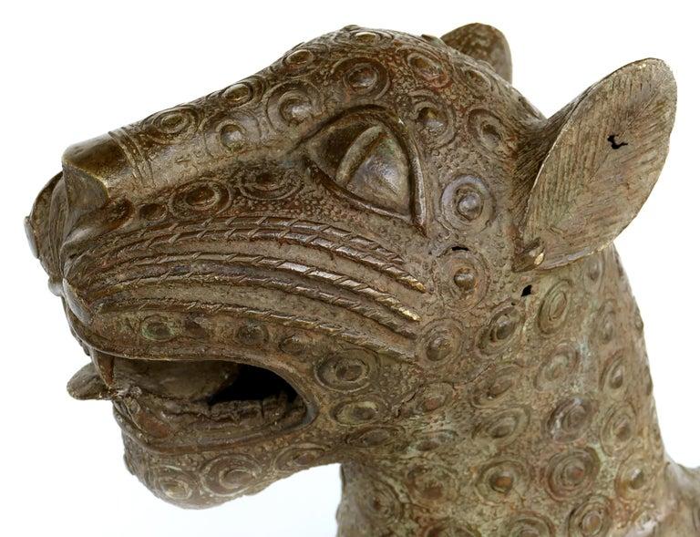 Tribal Benin 'Nigeria' Bronze Sculptures of Leopards, Modern Replicas For Sale