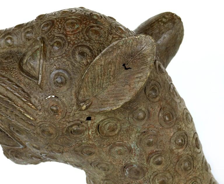 Benin 'Nigeria' Bronze Sculptures of Leopards, Modern Replicas In Good Condition For Sale In Miami, FL