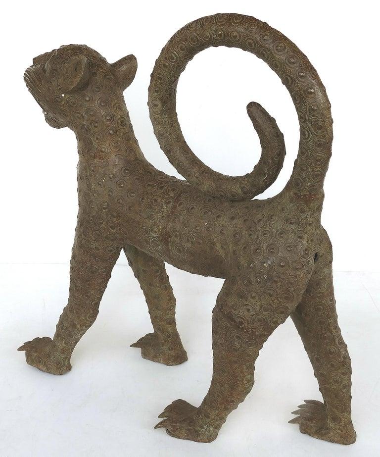 Benin 'Nigeria' Bronze Sculptures of Leopards, Modern Replicas For Sale 1