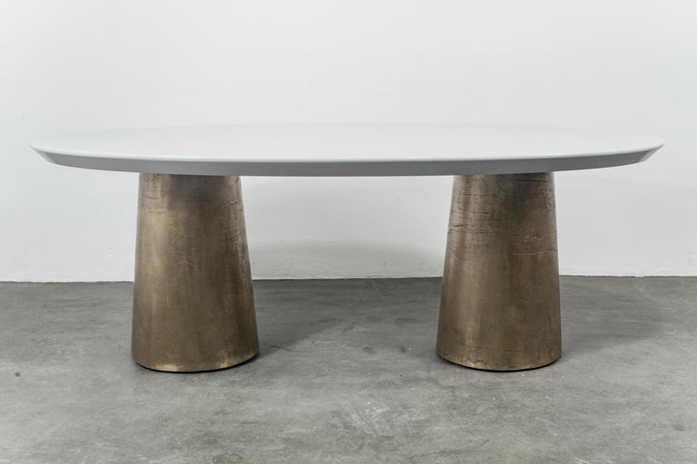 Modern Benino Custom Oil Rubbed Cast Bronze Twin Pedestal Lacquered Oval Dining Table For Sale
